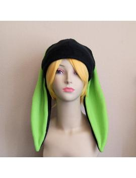 Made To Order / Fleece Rabbit Hat / Black + Lime Green Beanie Style With Long Bunny Ears Cute Anime Cosplay Rabbit Ears Usagi Kawaii Fashion by Etsy