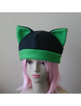 Made To Order / Fleece Cat Hat / Black + Grass Green Beanie Cap Cute Anime Neko Cosplay Kitty Ears Kawaii Animal Fashion by Etsy