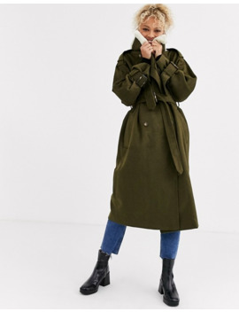 Asos Design Borg Collared Coat In Khaki by Asos Design