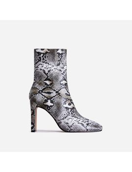 Klass Square Toe Thin Block Heel Ankle Boot In Nude Snake Print Faux Leather by Ego