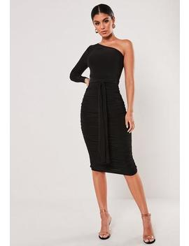Black One Shoulder Slinky Ruched Midaxi Dress by Missguided