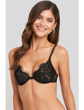 Two Strap Lace Cup Bra Black by Na Kd Lingerie