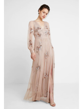 Plunge Front All Overembellished Maxi Dress With Split   Ballkleid by Maya Deluxe