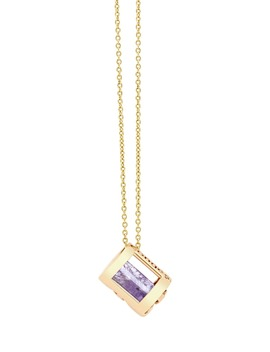 Peace Of Mind Amethyst Barrel Initial Necklace by CongÉs