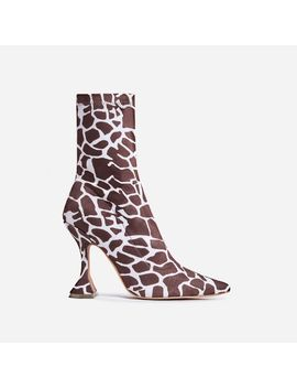 Flore Pyramid Heel Ankle Boot In Giraffe Print Faux Suede by Ego