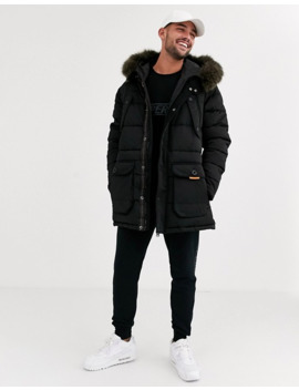 Superdry Chinook Hooded Parka Jacket With Faux Fur Trim In Black by Superdry
