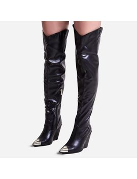Gonna Toe Cap Detail Thigh High Western Long Boot In Black Faux Leather by Ego