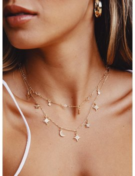 Midnight Love Layered Necklace Gold by Princess Polly