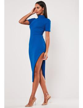 Blue Rib Roll Neck Side Split Midi Dress by Missguided