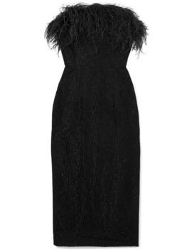Minelli Strapless Feather Trimmed Metallic Bouclé Midi Dress by 16 Arlington