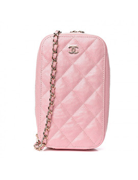 Chanel Iridescent Caviar Quilted Classic Clutch With Chain Pink by Chanel