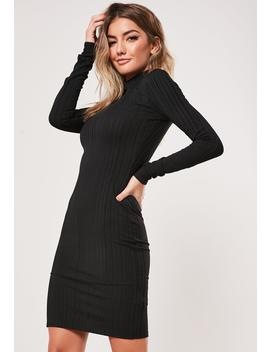 Tall Black High Neck Rib Midi Dress by Missguided