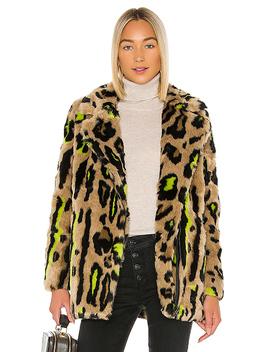 Chloe Faux Fur Coat In Neon Leopard by Apparis