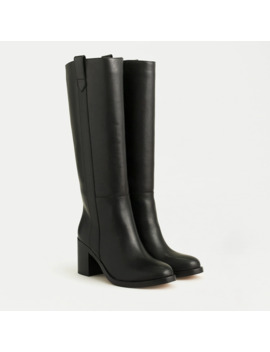 Stacked Heel Leather Riding Boots by J.Crew