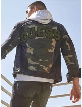 Dillon Varsity Camo Denim Jacket by Guess