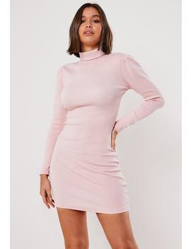 Pink Heavy Rib Roll Neck Mini Dress by Missguided