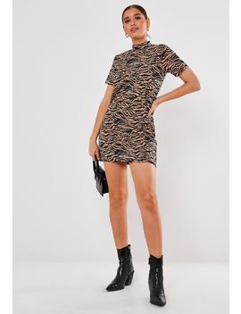 Stone Zebra Print High Neck Shift Dress by Missguided