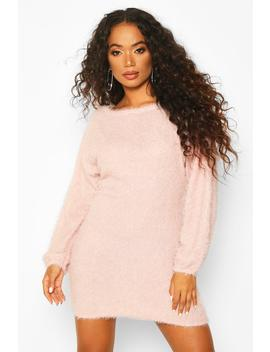 Petite Fluffy Sparkle Knit Jumper Dress by Boohoo