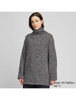 Women Knitted Fleece High Neck Long Sleeve Tunic by Uniqlo