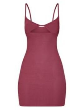 Aubergine Strappy Twist Front Bodycon Dress by Prettylittlething