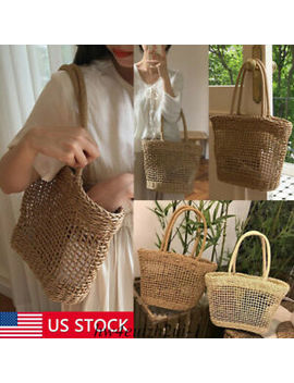 Rattan Straw Woven Bag Women Wicker Basket Tote Fashion Summer Beach Large Purse by Unbranded