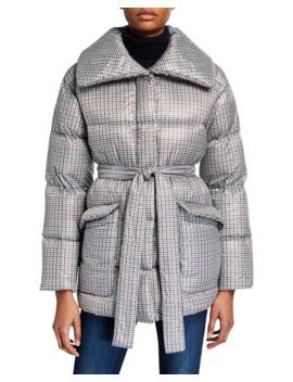 Bernardo Fashions Belted Down/Feather Puffer Coat by Bernardo Fashions