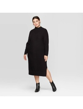 Women's Plus Size Long Sleeve Mock Turtleneck Midi Dress   Prologue™ Black by Prologue