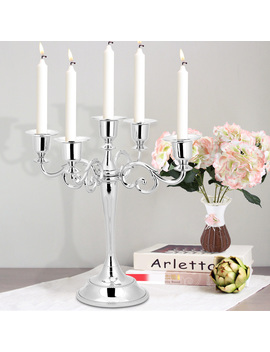 Metal Candle Holder 5 Arms Candle Stand Vintage Candle Holder Wedding Event Candelabra Candle Stick(Silver) by Hurrise