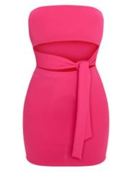 Hot Pink Bandeau Tie Detail Cut Out Bodycon Dress by Prettylittlething