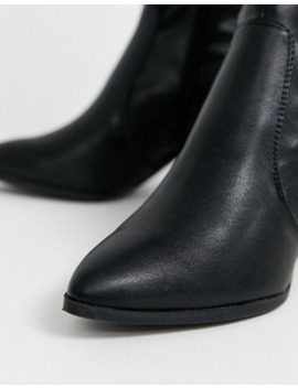 New Look Knee High Leather Look Heeled Boots In Black by New Look