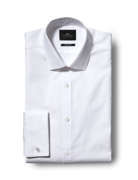 Moss London Skinny Fit White Double Cuff Shirt by Moss Bros