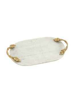 White Monroe Street Aluminum Marble Oval Accent Serving Tray by Astoria Grand