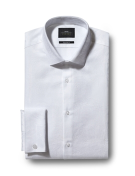 Moss London Extra Slim Fit White Double Cuff Rose Jacquard Shirt by Moss Bros