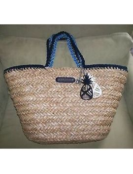 $248 Juicy Couture Georgica Tote Bag Picnic In The Park Straw Basket Logo by Juicy Couture