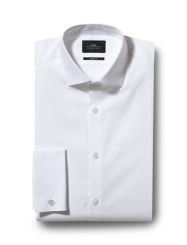 Moss London Skinny Fit White Double Cuff Stretch Shirt by Moss Bros