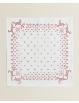 Reindeer And Snowflake Print Napkins (Pack Of 2) Table Linen   Dining   Christmas by Zara Home