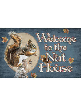 Colorful Garden Welcome To The Nut House Door Mat by Rug Rhapsody