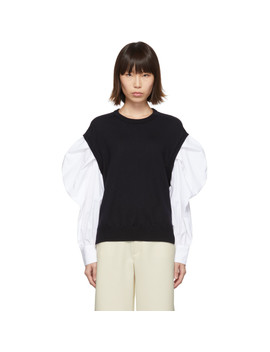 Navy & White Shirt Sleeve Sweater by Enfold