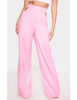 Candy Pink Cut Out Detail Wide Leg Pants by Prettylittlething