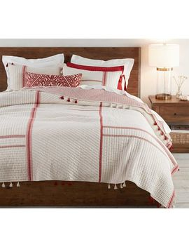 Nellie Pickstitch Tassel Quilt, Full/Queen, Charcoal by Pottery Barn