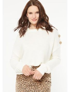 Ivory Button Shoulder Sweater by Rue21