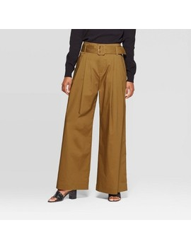 Women's Mid Rise Wide Leg Pleated Pants   Who What Wear™ Green by Who What Wear