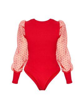 Red Dobby Mesh Sleeve Bodysuit by Prettylittlething