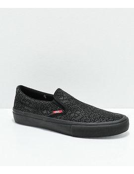 Vans X Sketchy Tank Slip On Pro Reflective Black Skate Shoes by Zumiez