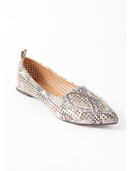 Snakeskin Print Perforated Pointy Toe Flats by Rue21