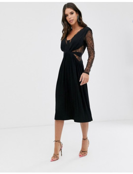 Asos Design Tall Lace And Pleat Long Sleeve Midi Dress by Asos Design