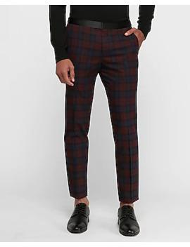 Slim Burgundy Plaid Tuxedo Pant by Express