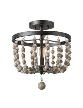 12 In. 3 Light Black Wood Beaded Semi Flush Mount Light by Lnc