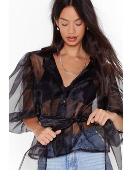 All Organza On Deck Balloon Sleeve Blouse by Nasty Gal