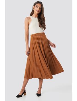 Midi Pleated Skirt Brown by Trendyol